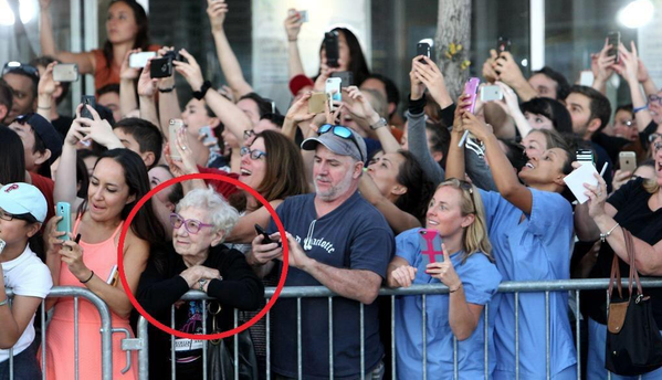 smartphone users desperately try to capture a moment on their screen while an older woman truly absorbs it