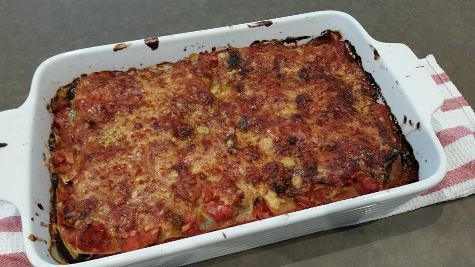 a home made roasted vegetable lasagne