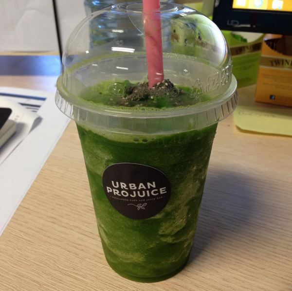 a pears, ginger, spinach and avocado smoothie from Urban Projuice
