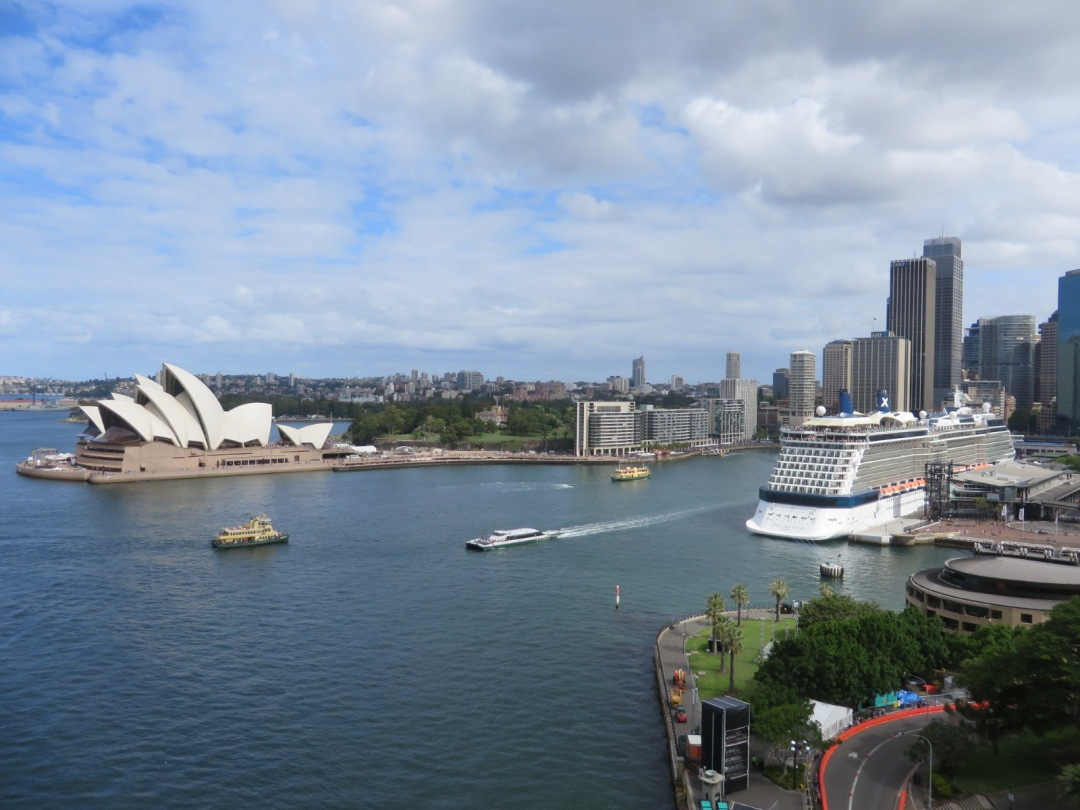 the view of the harbour in Sydney from the bridge