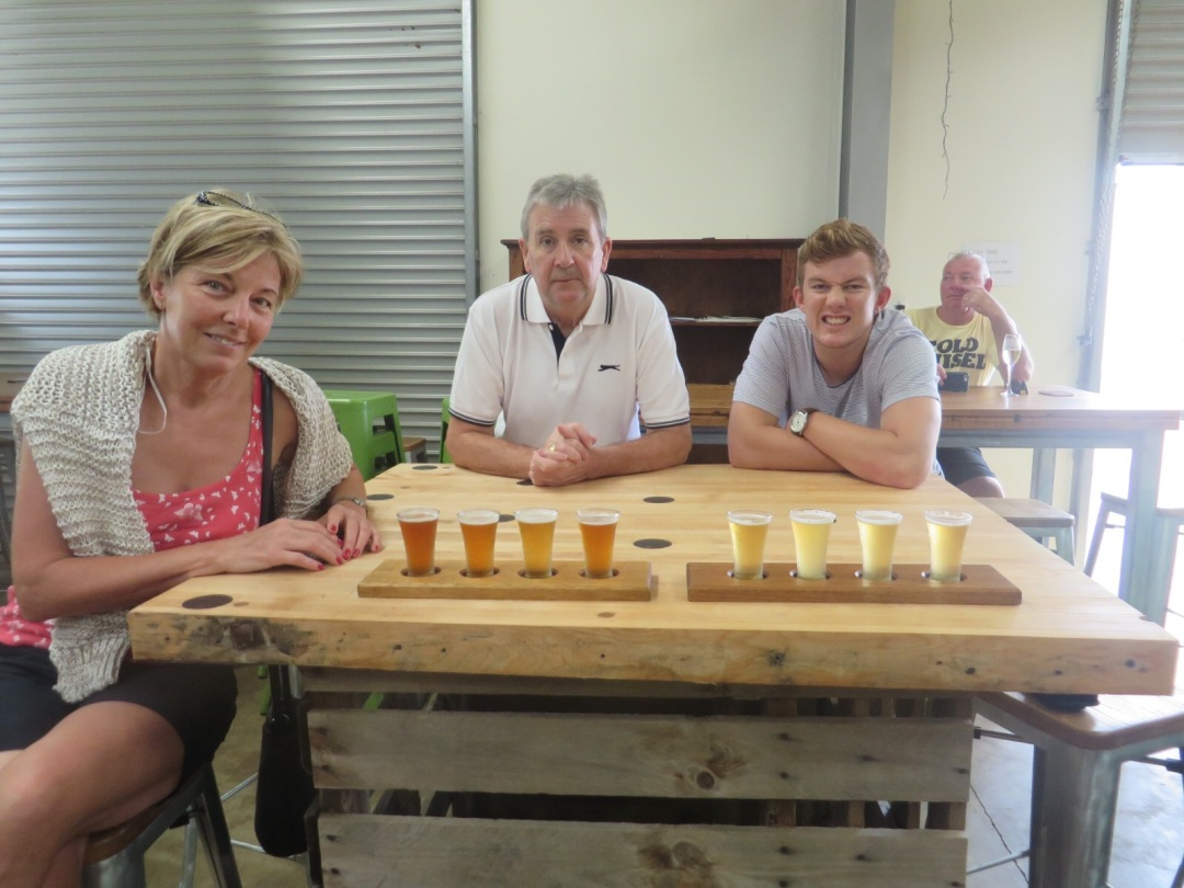 getting ready to taste the seletion of ales at black duck brewery