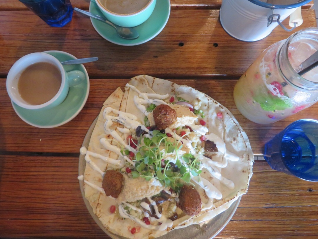 My gorgeous open flatbread with falafel and hummous from TREEO Cafe