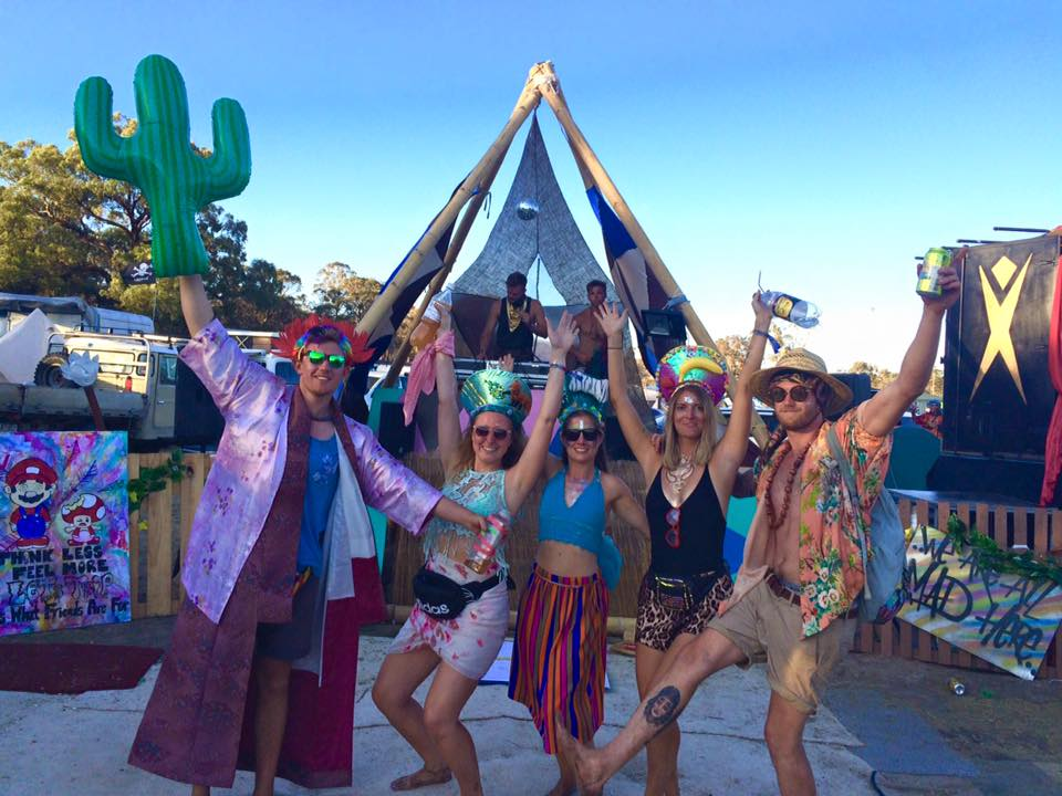 dancing at one of the theme camp stages while at Rainbow Serpent Festival in Victoria, Australia