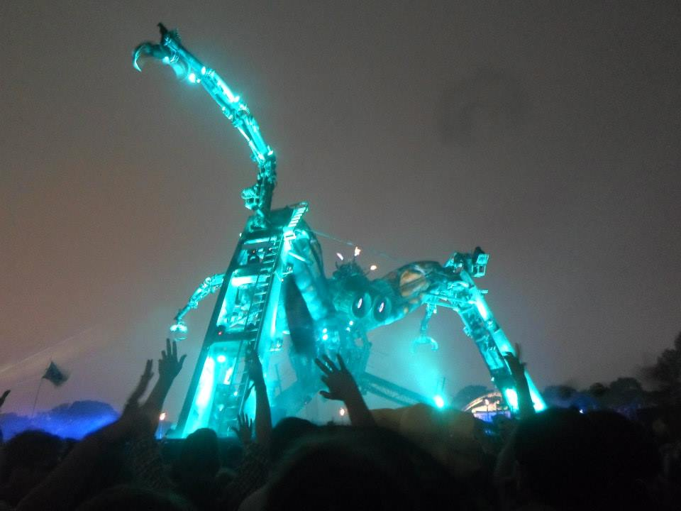 the arcadia stage lit up at Glastonbury festival