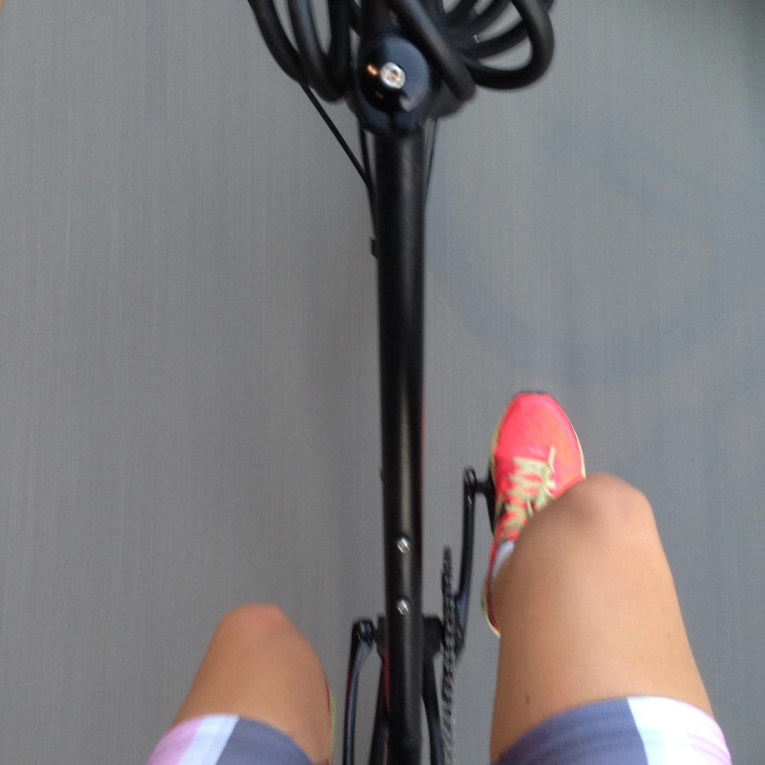 a birds eye view of me riding my bike
