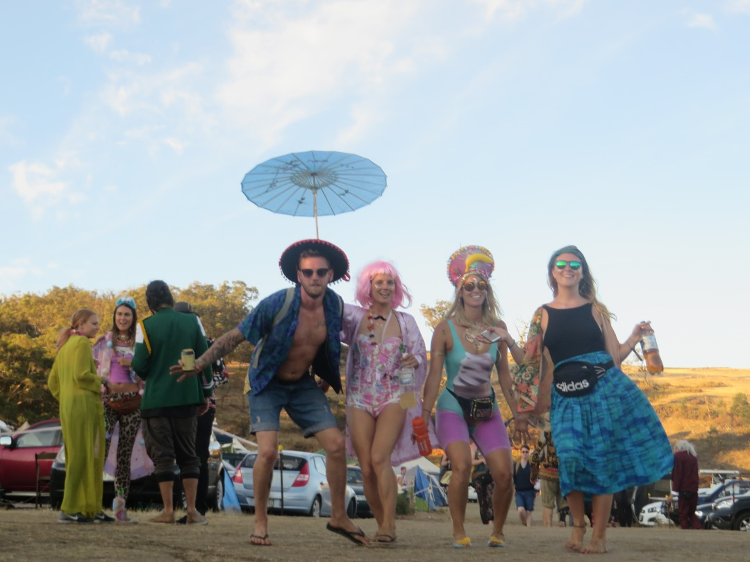 a group of friends in fancy dress costumes attending a festival in australia